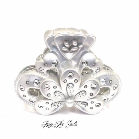 Bog-Art Studio - Hajcsat - Virág csillogás - 40x60 mm - ezüst