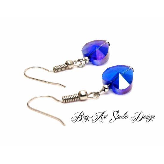 Bog-Art Studio - Kristály szív fülbevaló - 10 mm - kék