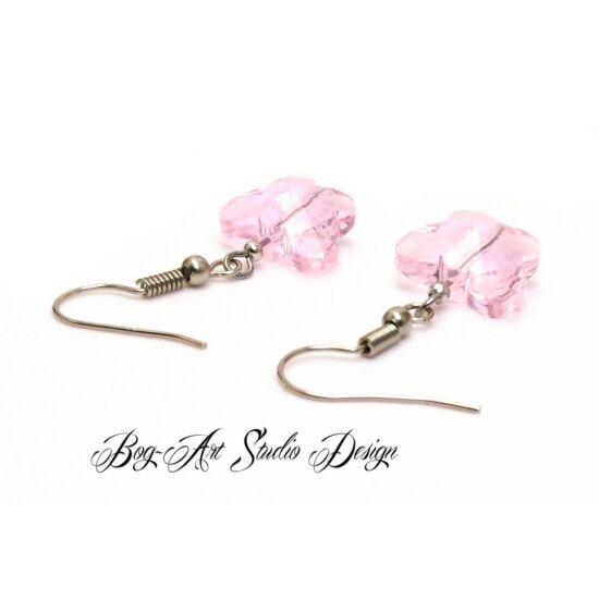 Bog-Art Studio - Kristály pillangó fülbevaló - 10 mm - rózsaszín
