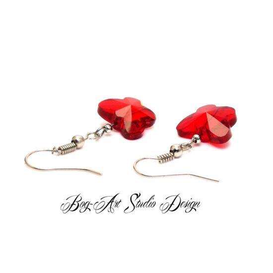Bog-Art Studio - Kristály pillangó fülbevaló - 10 mm - piros