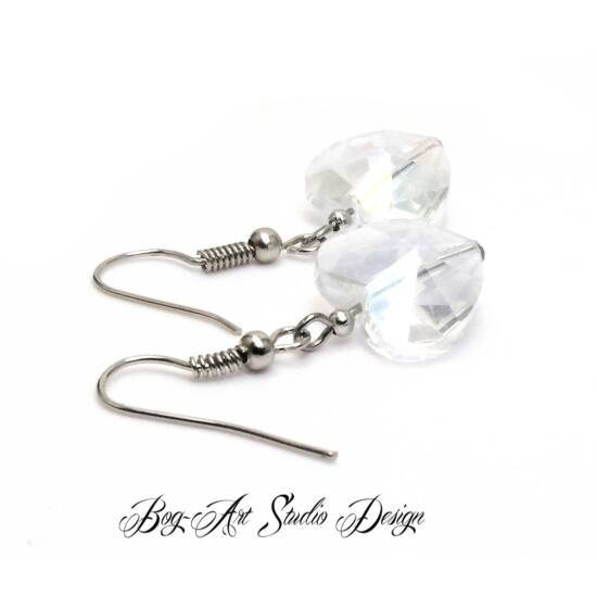 Bog-Art Studio - Kristály szív fülbevaló - 14 mm - kristály