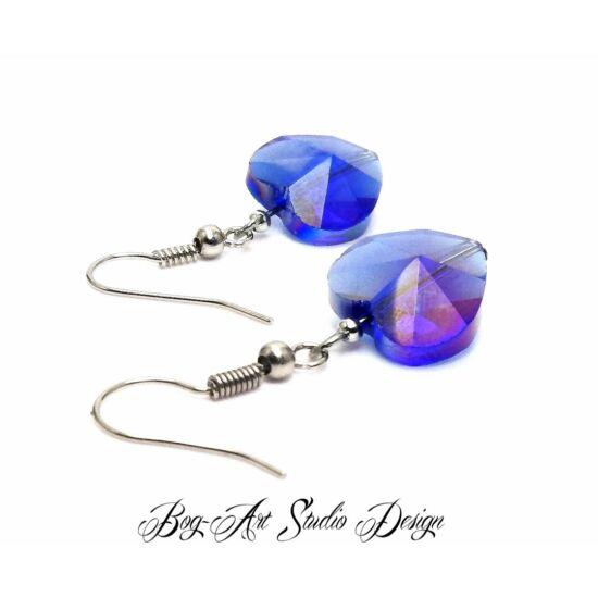 Bog-Art Studio - Kristály szív fülbevaló - 14 mm - kék