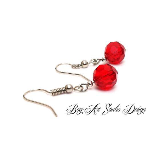 Bog-Art Studio - Kristály gyöngy fülbevaló - gömb - 10 mm - piros