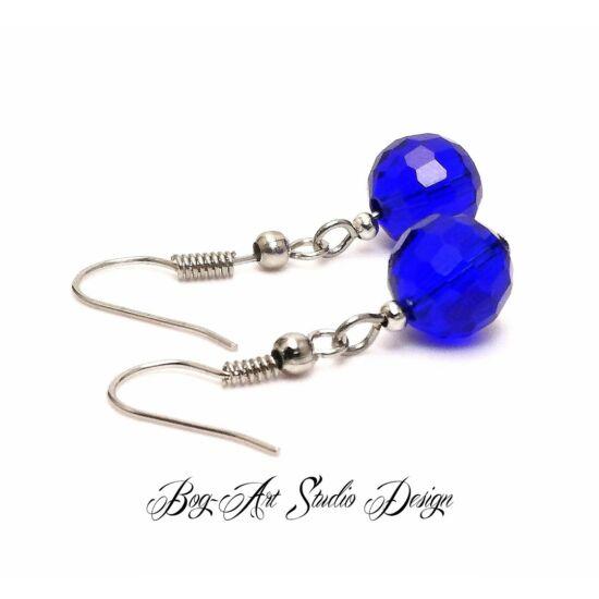 Bog-Art Studio - Kristály gyöngy fülbevaló - gömb - 10 mm - kék