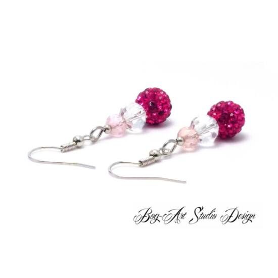 Bog-Art Studio - Kristály fülbevaló - 3 szem - rózsaszín árnyalatai kristállyal