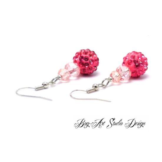 Bog-Art Studio - Kristály fülbevaló - 3 szem - rózsaszín árnyalatai
