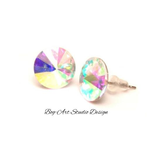 Kristály beszúrós fülbevaló -  12 mm-es - Crystal AB