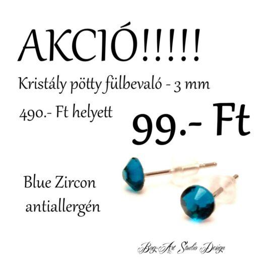 Bog-Art Studio - Kristály pötty - 3 mm - blue zirkon
