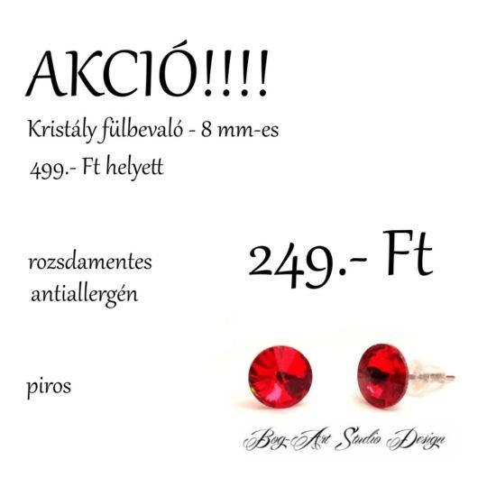 Kristály beszúrós fülbevaló - 8 mm - piros