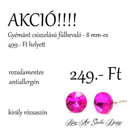 Gyémánt csiszolású beszúrós fülbevaló - 8 mm - király rózsaszín