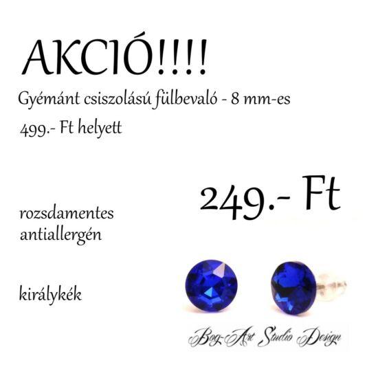 Gyémánt csiszolású beszúrós fülbevaló - 8 mm - király kék