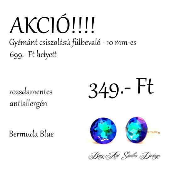 Gyémánt csiszolású beszúrós fülbevaló - 10 mm - Bermuda blue