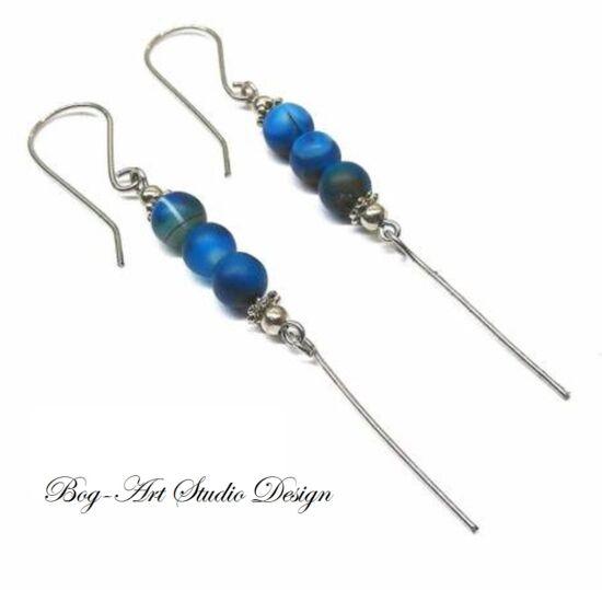 Bog-Art Studio -  Achát fülbevaló - 3 kék szem gyöngy csüngővel