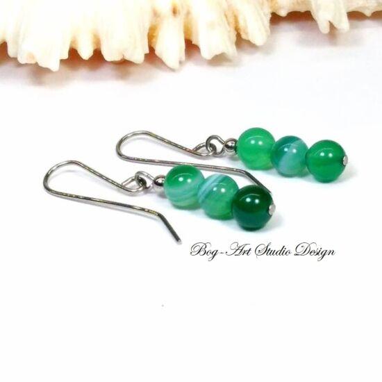 Achát fülbevaló - 3 szem zöld gyöngy