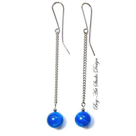 Achát fülbevaló - kék gyöngy láncon