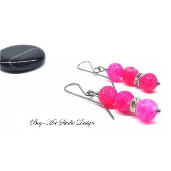 Achát fülbevaló - rózsaszín gyöngyök kristály köztessel