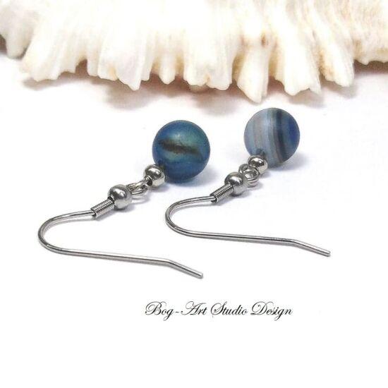Achát fülbevaló 8 mm-es kék gyöngyökből