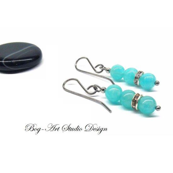 Bog-Art Studio - Amazonit fülbevaló - gyöngyök kristály köztessel
