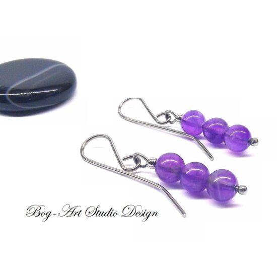 Bog-Art Studio - Ametiszt fülbevaló - három gyöngy