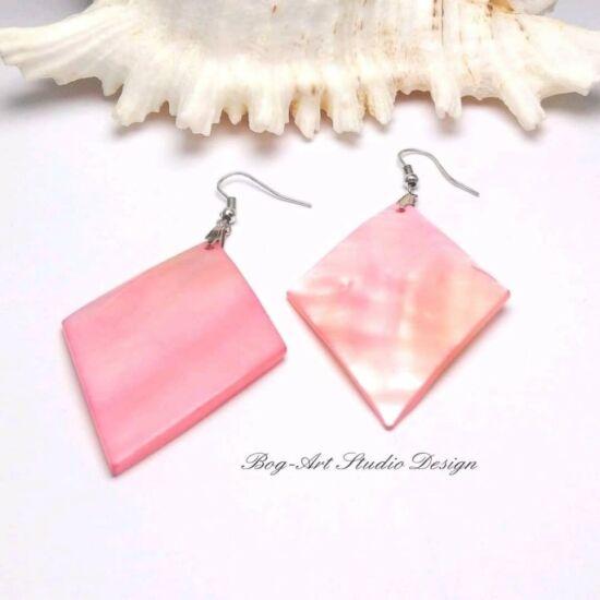 Kagyló fülbevaló - rózsaszín rombusz