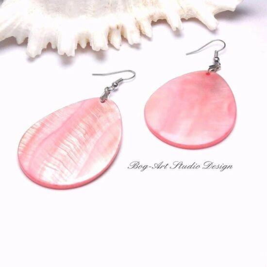 Kagyló fülbevaló - rózsaszín csepp