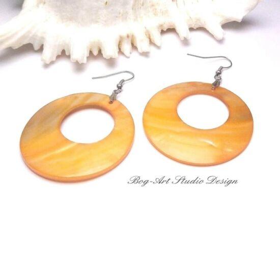 Kagyló fülbevaló - sárga karika