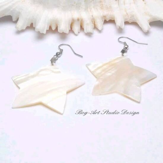 Kagyló fülbevaló - fehér csillag