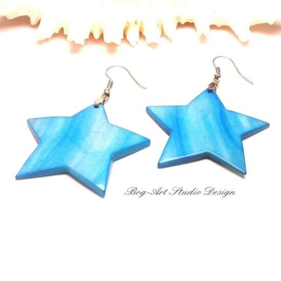 Kagyló fülbevaló - kék csillag