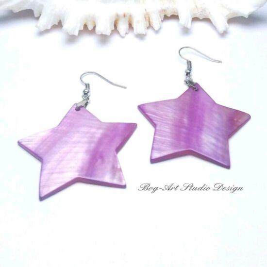 Kagyló fülbevaló - lila csillag