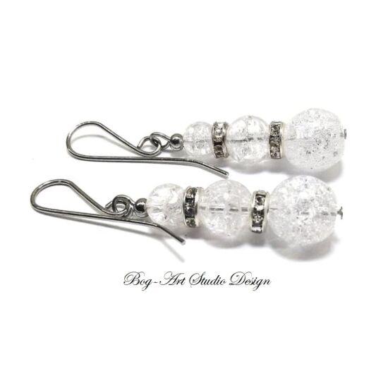 Hegyikristály fülbevaló 6-8-10 mm kristály köztesekkel