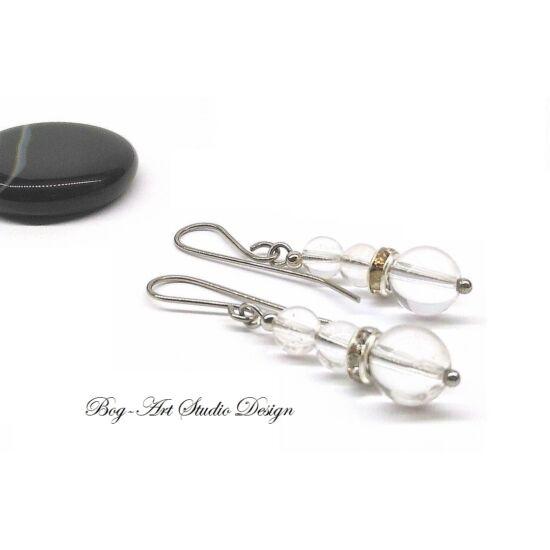 Hegyikristály fülbevaló - gyöngyök ezüst kristály köztessel