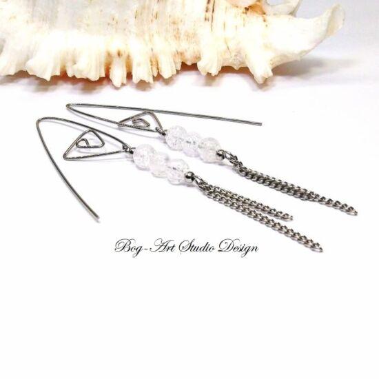 Hegyikristály fülbevaló - gyöngyök spirálfülcsin