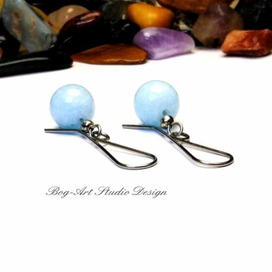 Jáde fülbevaló - 10 mm-es pasztell kék gyöngy