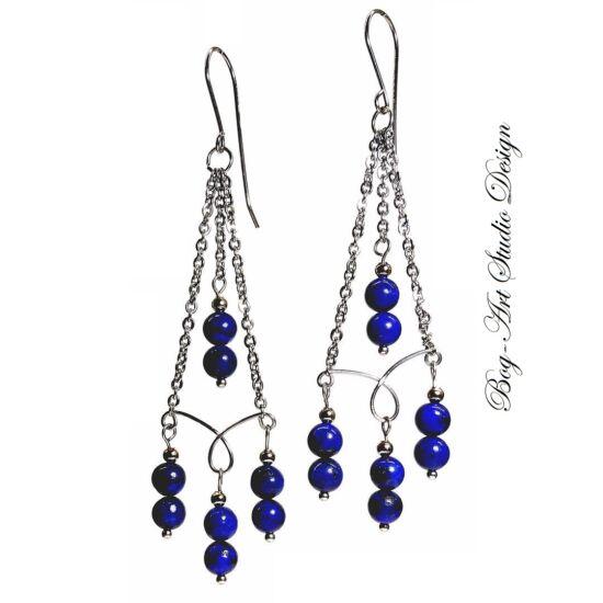 Lápis Lazuli gyöngyök kacskaringós láncon