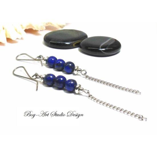 Lápis Lazuli fülbevaló - gyöngyök lánccal