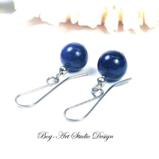 Lápis lazuli fülbevaló - 10-es gyöngy