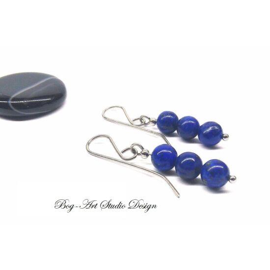 Lapis Lazuli fülbevaló - három gyöngy