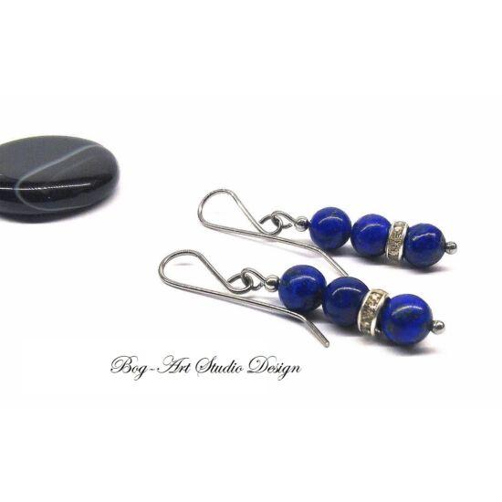 Lapisz Lazuli fülbevaló kristály köztessel