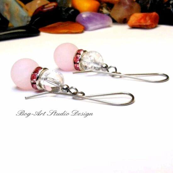 Bog-Art Studio - Rózsakvarc szerelemvonzó fülbevaló - hegyikristállyal