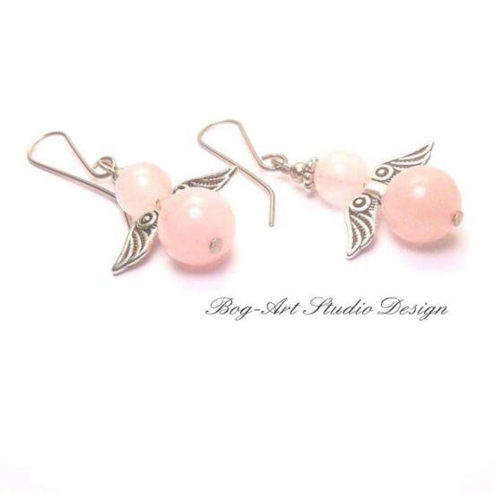 Rózsakvarc angyalka fülbevaló