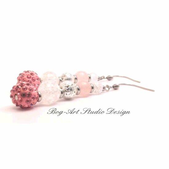 Bog-Art Studio Rózsakvarc Diva fülbevaló Lávakő Hegyikristály Antiallergén