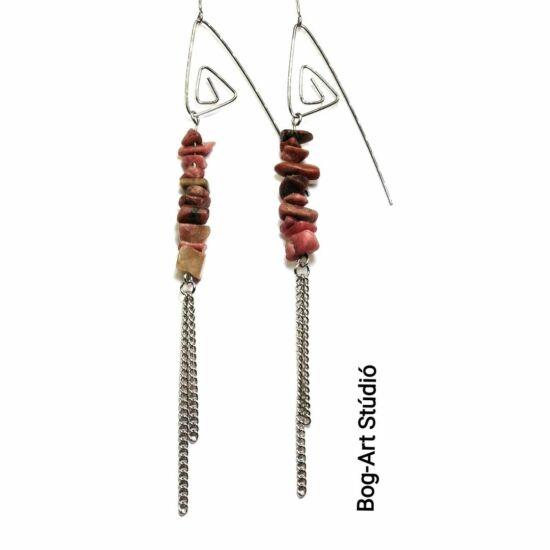 Rodonit fülbevaló szemcsekövekből spirálfülcsin