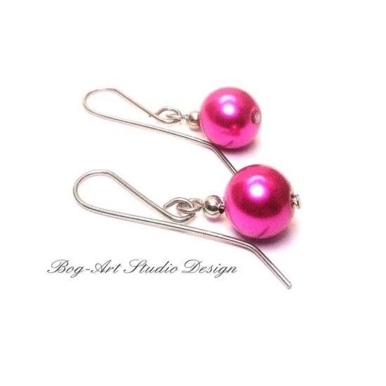 Bog-Art Studio - Tekla gyöngy fülbevaló - 10 mm - sötét pink
