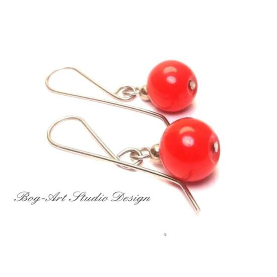 Bog-Art Studio - Tekla gyöngy fülbevaló - 10 mm - piros