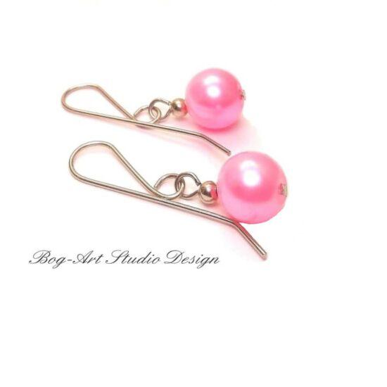 Bog-Art Studio - Tekla gyöngy fülbevaló - 10 mm - rózsaszin