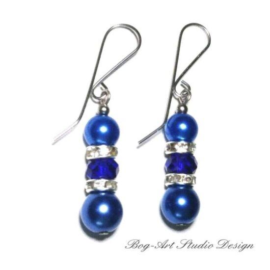 Tekla gyöngy fülbevaló - 8 mm kék gyöngyök kristályokkal