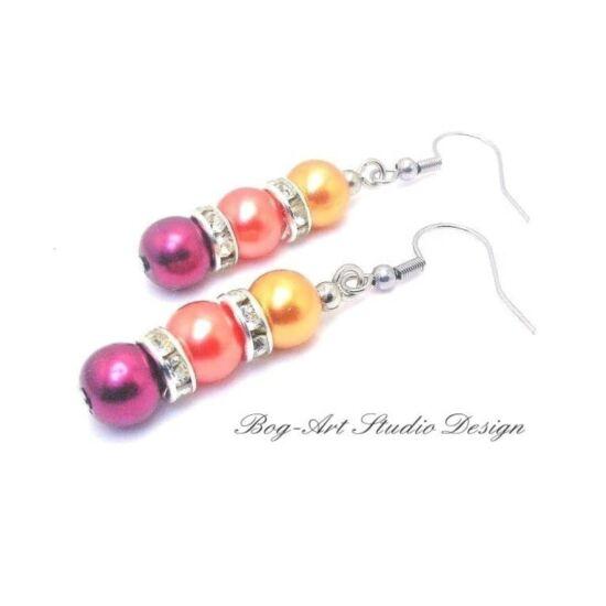 Tekla gyöngy fülbevaló - Vörösesbarna gyöngyök kristályokkal