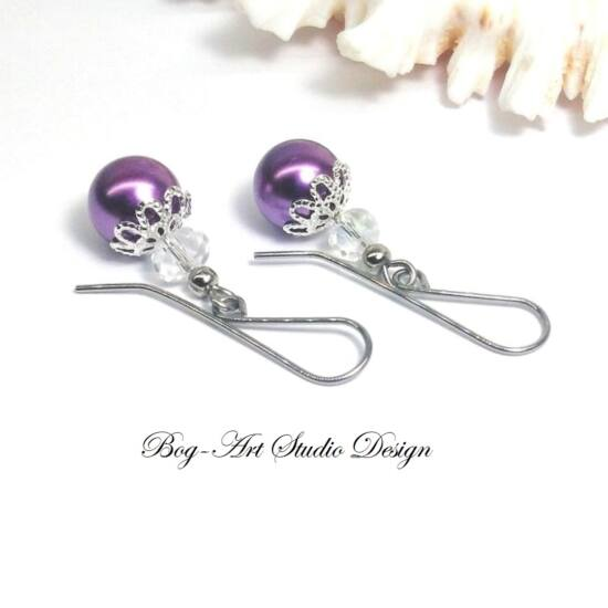 Gyöngy fülbevaló - gyöngy kristállyal lila és kristály színben