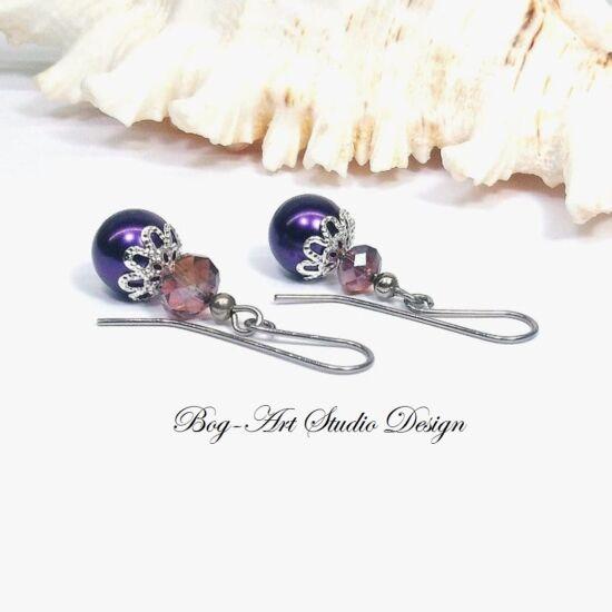 Gyöngy fülbevaló - gyöngy kristállyal lila színben