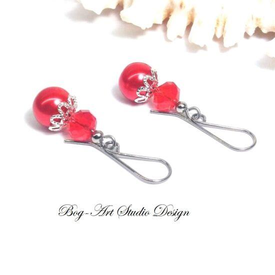 Gyöngy fülbevaló - gyöngy kristállyal piros színben